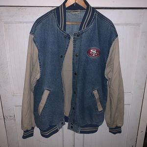 Vintage 49ers Denim Bomber Jacket